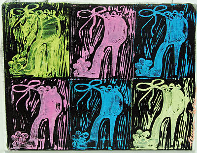 Linoprint Painting - Untitled Shoe Print In Purple Green Blue And Pink by Lauren Luna