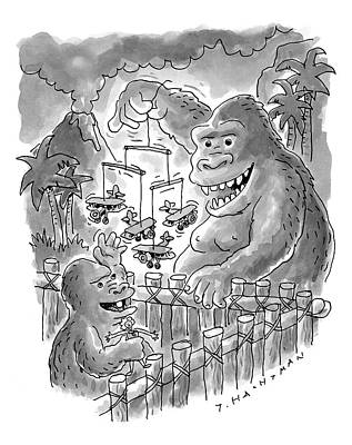 King Kong Drawing - New Yorker March 13th, 2000 by Tom Hachtman