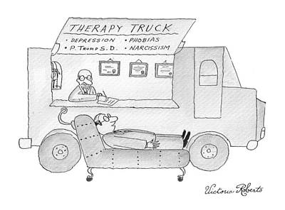 Truck Drawing - New Yorker February 13th, 2017 by Victoria Roberts