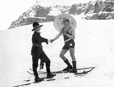 One Piece Swimsuit Photograph - Unusual Meeting On The Slopes by Underwood Archives