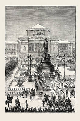 Historic Statue Drawing - Unveiling The Statue Of Catherine II At St by English School