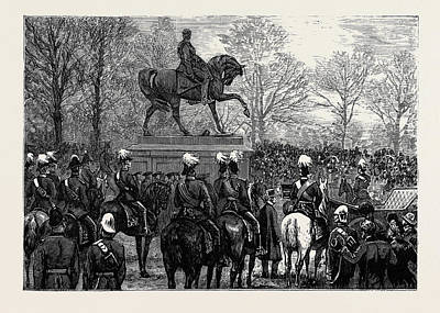 Phoenix Drawing - Unveiling The Statue Of Lord Gough In The Phoenix Park by Irish School
