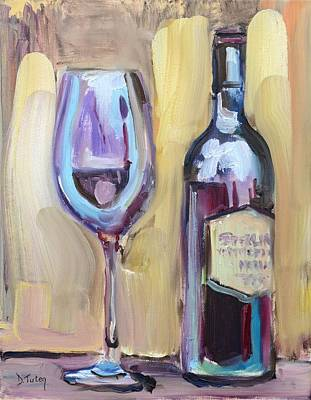 Wine Bottle Painting - Unwind by Donna Tuten