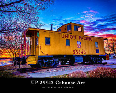 Photograph - Up 25543 - Caboose Art With Title by Bill Kesler