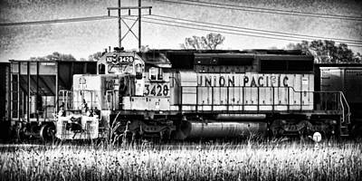 Photograph - Up 3428 Rcl Locomotive In Black-and-white by Bill Kesler
