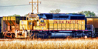 Up 3428 Rcl Locomotive In Color Art Print by Bill Kesler