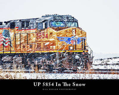 Photograph - Up 5854 In The Snow With Title by Bill Kesler