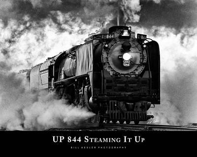 Photograph - Up 844 Steaming It Up With Title by Bill Kesler