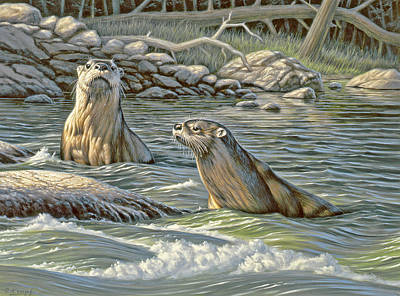 Otter Painting - Up For Air - River Otters by Paul Krapf