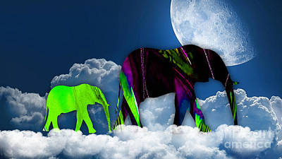 Elephants Mixed Media - Up In The Clouds by Marvin Blaine