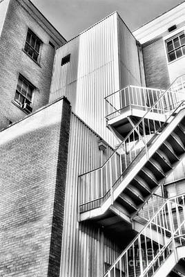 Photograph - Up The Down Staircase Bw - Greensboro by Dan Carmichael