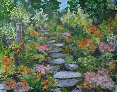 30 X 24 Painting - Up The Garden Path by Anne F Marshall