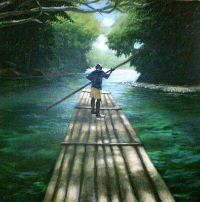 One Point Perspective Painting - Up The River by Arshaad Norwood