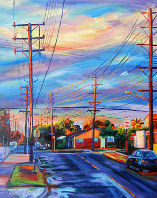 Powerlines Painting - Up The Street by Bonnie Lambert