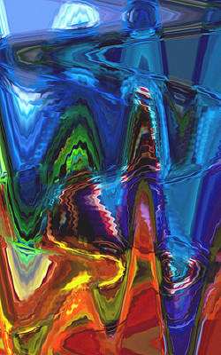 Abstract Digital Color Colorful Expressionism Impressionism Painting - Up To The Mountains by Steve K