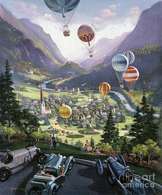 Hot Air Balloon Painting - Up Up And Away by Michael Young