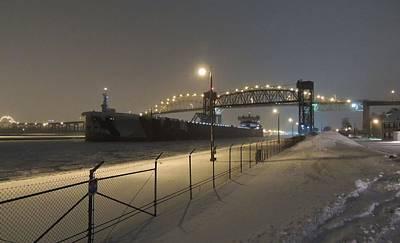 Speer Photograph - Upbound To Icebound - Edgar B Speer - Soo Locks by Mikel Classen