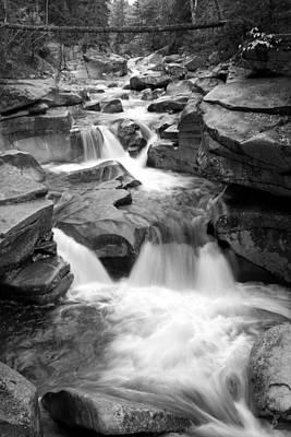 Upper Ammonoosuc Falls Black And White Art Print by Brett Pelletier