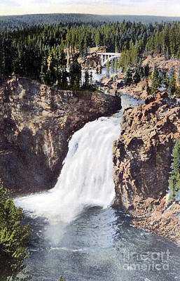 Photograph - Upper Falls Yellowstone National Park by NPS Photo Frank J Haynes