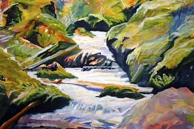 Mt Hood Digital Art - Upper Mccord Falls Columbia River Gorge by Anna Porter