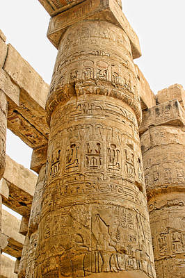 Abacus Photograph - Upper Portion Karnak Temple Coloumns by Linda Phelps