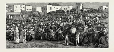 Tangier Drawing - Upper Soko Or Market Place, Tangier, Morocco by Litz Collection