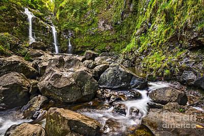 Photograph - Upper Waikani Falls - The Stunningly Beautiful Three Bears In Maui. by Jamie Pham
