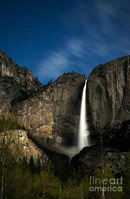 Photograph - Upper Yosemite Falls By The Moonlight by Deby Dixon