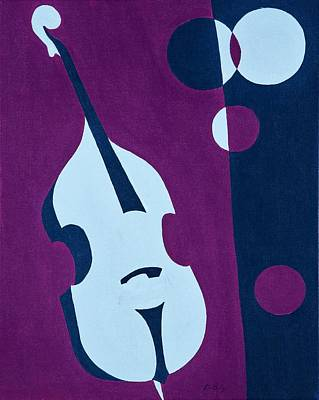 Retro Wall Art - Painting - Upright Jazz by Brian Broadway