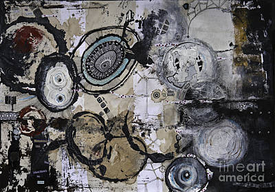 Abstract Collage Drawing - Upside Down And Inside Out by Jay Taylor
