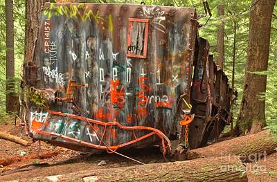 Photograph - Upside Down Derailed Box Car by Adam Jewell