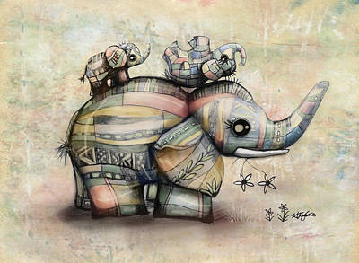 Painting - Upside Down Elephants by Karin Taylor
