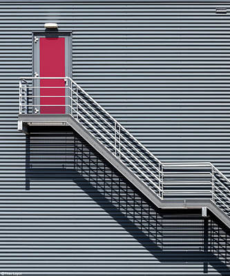 Red Abstract Photograph - Upstairs To The Red Door by Theo Luycx