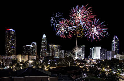 Charlotte Skyline Photograph - Uptown Fireworks 2014 by Chris Austin