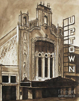 Sepia Ink Drawing - Uptown Theater by Christopher Buoscio