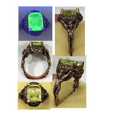 Vaseline Glass Jewelry - Uranium Cherub Angel Ring by Michelle  Robison