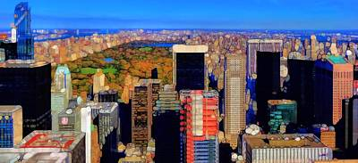 Rockefeller Plaza Photograph - Urban Abstract New York City Skyline And Central Park by Dan Sproul