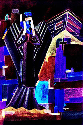 Art Print featuring the painting Urban Angel Of Dark by Paula Ayers