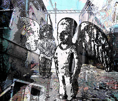 Ghetto Mixed Media - Urban Angels by Amelia Carrie