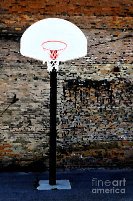 Ghetto Mixed Media - Urban Basketball Court by Lane Erickson