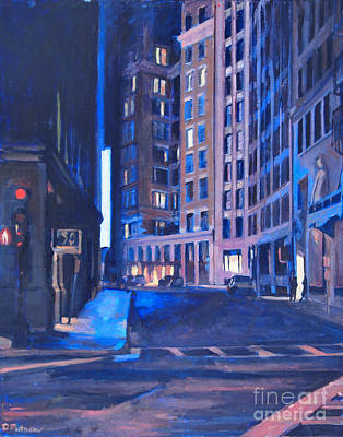 Night-scape Painting - Urban Canyon 4 Nocturne by Deb Putnam
