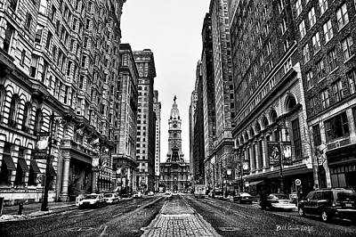 Street Photograph - Urban Canyon - Philadelphia City Hall by Bill Cannon