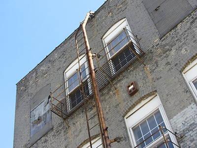 Photograph - Urban Decay Grey Wall Ladder by Anita Burgermeister