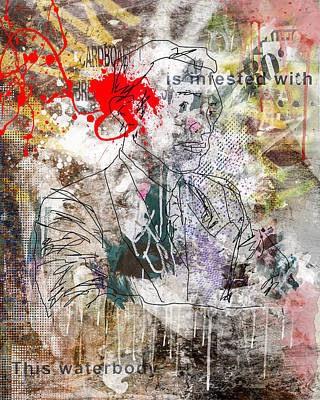 Abstract Digital Mixed Media - Male Suit Portrait Grunge Urban Collage  by Andy Gimino