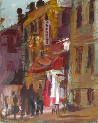 Painting - Urban Dusk Scene by Edward Ching