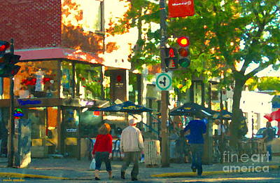 Urban Explorers Couple Walking Downtown Streets Of Montreal Summer Scenes Carole Spandau Art Print by Carole Spandau