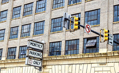 Urban Garage Monthly Parking Only Art Print by Janice Rae Pariza