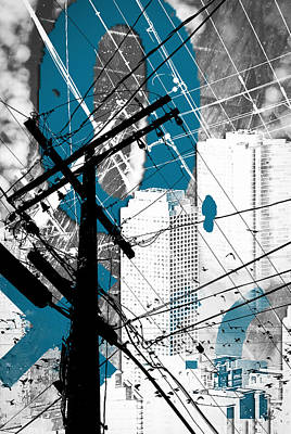 Urban Industrial Mixed Media - Urban Grunge Blue by Melissa Smith