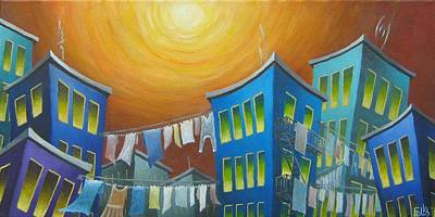 Laundry Painting - Urban Hang-ups by Eva Folks