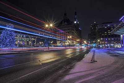 Winter Night Photograph - Urban Holiday  by CJ Schmit